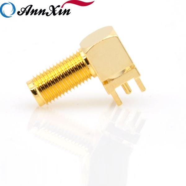Gold Copper Long thread SMA Adapter PCB Mount SMA Female Jack Right Angle Coaxial RF SMA (5)