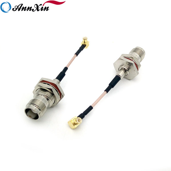High Quality MCX Right Angle Plug To TNC Jack Bulkhead For RG178 Cable 6cm (5)
