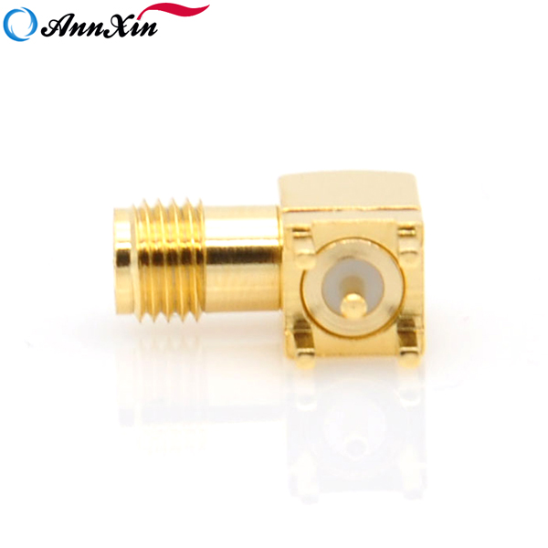 RP-SMA Female (Male Pin) Plug Right Angle PCB Mount Solder RF Adapter Connectors (4)