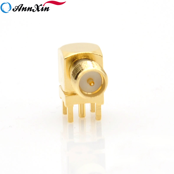 RP-SMA Female (Male Pin) Plug Right Angle PCB Mount Solder RF Adapter Connectors (7)