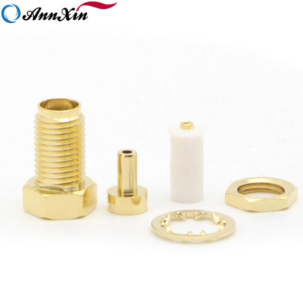 RP-SMA female plug center nut bulkhead straight RF Connector For 1.13 1.37 RG178U RG316U cable (4)