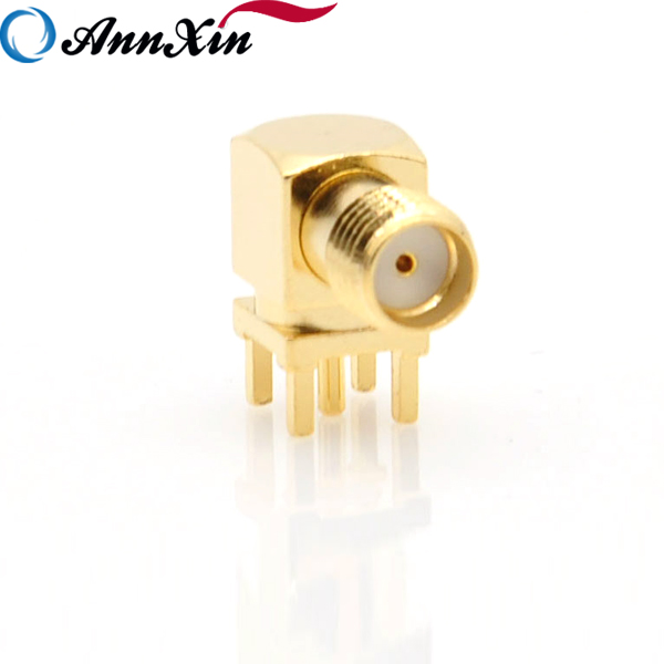 SMA Female Jack Right Angle Solder PCB Mount with thru hole bulkhead RF Connector Coaxial Adapter (6)