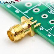 Glod SMA Female 4 Pin Crimp Connector Edge PCB Mount (2)