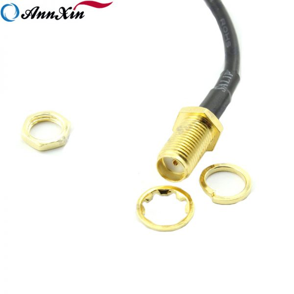 Goldplated Right Angle SMA Male to Straight SMA Female Bulk Head Connector 20 cm RG174 Extension Pigtail Cable (3)